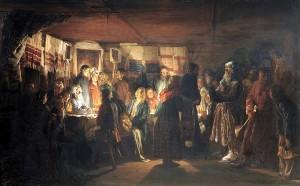 """""""Приход колдуна на крестьянскую свадьбу"""", В.М. Максимов, 1875"""