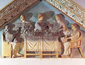 поминальная трапеза, барельеф с римской стелы, Rheinisches Landesmuseum, г. Трир, Германия