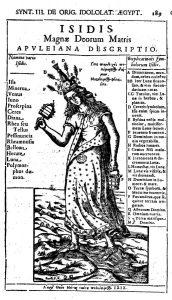 Исида Апулея (гравюра на дереве) из: Афанасий Кирхер. Эдип Египетский, T. 1 (1652).