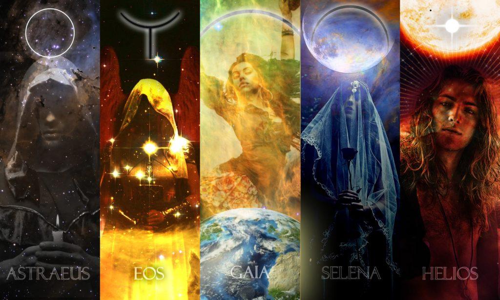 Коллаж, пять титанов Белой Звезды. Астрей, Эос, Гайа, Селена, Гелиос.
