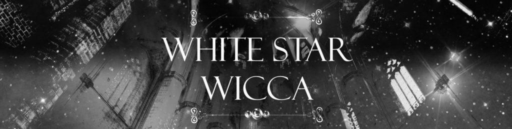 Надпись White Star Wicca на фоне интерьера храма.